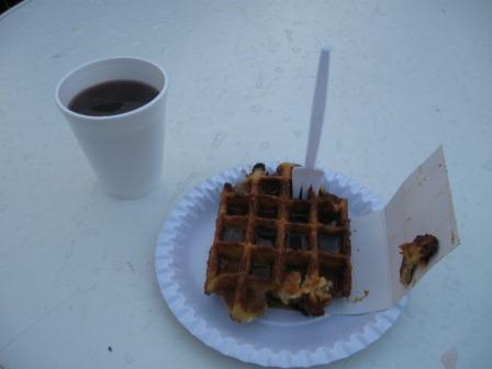 Hot mulled wine and a half-eaten warm chocolate waffle