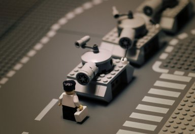 "Tiananmen Square by Balakov  A Lego recreation of Jeff Widener's 1989 photograph of ""The unknown rebel""."